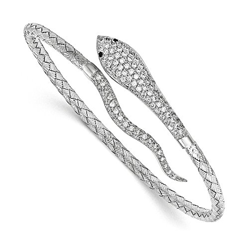 Sterling Silver Polished Rhodium-Plated Braided Cuff CZ Pave Snake Bangle Bracelet ()