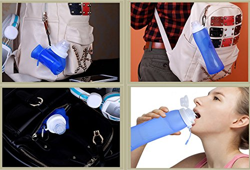 RockBirds S3 Foldable Silicone Sports Water Bottle BPA Free FDA Approved 100% Food Grade Silicone, Collapsible Unbreakable Leak Proof Reusable Ice Pack 17 Oz 500ml (Blue)