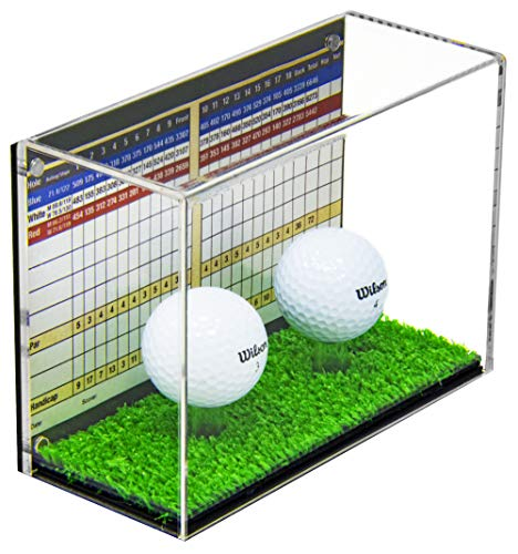(Deluxe Clear Acrylic Double Golf Ball Display Case with Black Back and Turf Floor (A045A-TB))