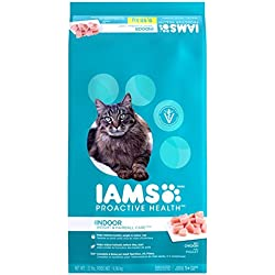 Iams Proactive Health Indoor Weight And Hairball Care Dry Cat Food, (1) 22 Pound Bag, Real Chicken In Every Bite