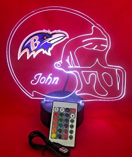 (Baltimore Ravens NFL Light Up Lamp LED Personalized Free Football Light Up Light Lamp LED Table Lamp, Our Newest Feature - It's Wow, with Remote, 16 Color Options, Dimmer, Free Engraved, Great Gift)