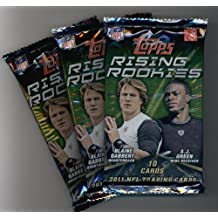 (3) 2011 Topps Rising Rookies Football Cards Unopened Packs (10 cards per pack)- Randomly Inserted Autographs & Jersey Cards - Cam Newton Rookie Year