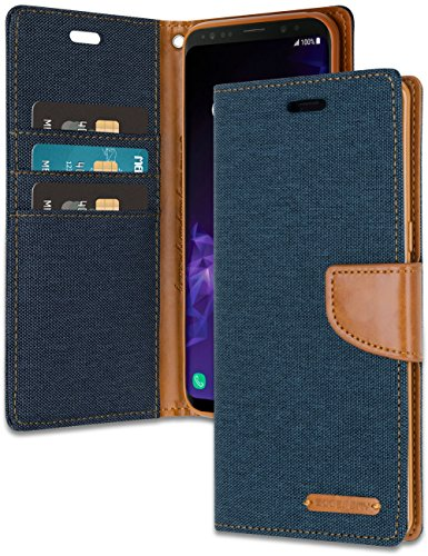 Mercury Material - MERCURY Galaxy S9 Wallet Case with Free 4 Gifts [Shockproof] GOOSPERY Canvas Diary Ver.Magnetic [Denim Material] Card Holder with Kickstand Flip Cover for Samsung GalaxyS9 - Navy, S9-CAN/GF-NVY