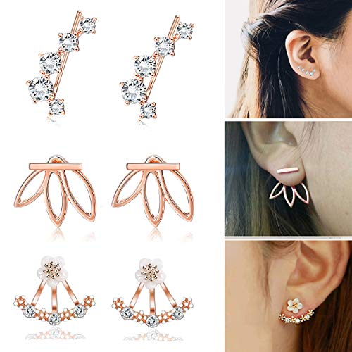 Ear Clasp (FIBO STEEL 3 Pairs Lotus Stud Earrings Jackets Set for Women Girls Cartilage Ear Climber Cuff Earring Rosegold-tone)