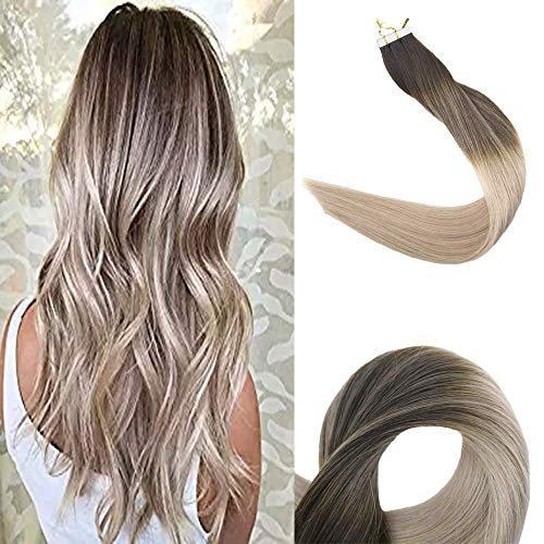 Full Shine 22 inch 50gram 20 Pcs Ombre Tape In Hair Extensions Remy Human Hair Color #2 Darkest Brwon Fading To #18 Highlight With Color #60 Invisible Tapes Real Hair Extensions