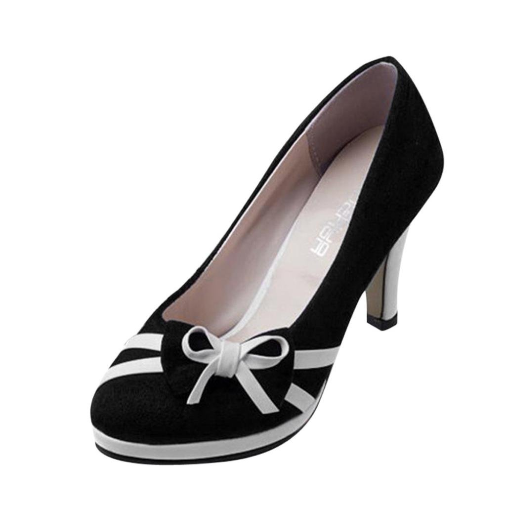 kaifongfu Women's High-Heeled Shoes,Spring Fashion Round Toe Shoes Bowknot Shallow Bow Round High-Heeled Pumps (39➽US:8.5, Black)