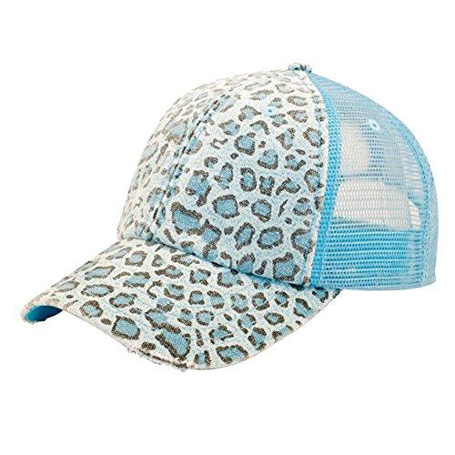MG Women's Print Mesh Canvas Trucker Baseball Cap Hat (Blue Leopard) ()