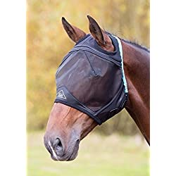 Shires Fine Mesh Fly Mask With Ear Hole (XFull, Black)