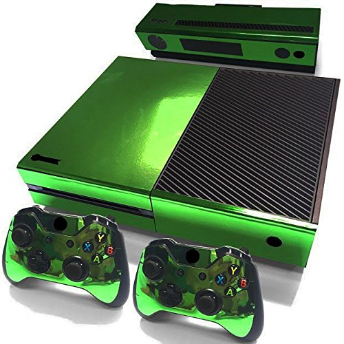 Gam3Gear Decals Skin Vinyl Sticker for Xbox ONE Console & Controller - Green Glossy (Xbox Chrome One Green Controller)