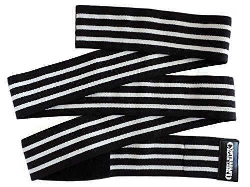 Contraband Black Label 1050 Knee Wraps With 3in Velcro EZ-Wrap for Bodybuilding, Powerlifting, and Crossfit (2 Meter Standard Length, 3-Stripe Medium (Standard Knee Wrap)