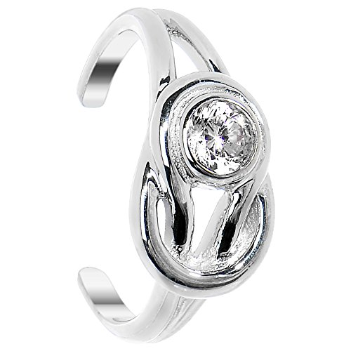 Au Toe Ring - Body Candy 925 Sterling Silver Lovers Knot Cubic Zirconia Adjustable Toe Ring