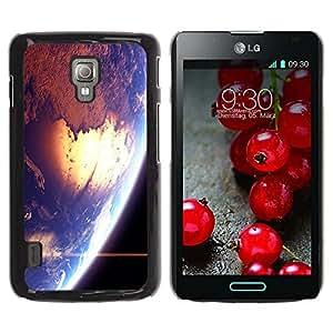 QCASE / LG Optimus L7 II P710 / L7X P714 / cosmos planeta azul espacio de la tierra del sol estrella / Delgado Negro Plástico caso cubierta Shell Armor Funda Case Cover