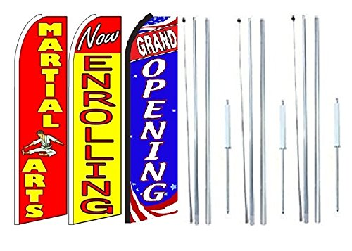 Martial+Arts,+Now+Enrolling Pack of 3 Grand Opening King Swooper Feather Flag Sign Kit with Complete Hybrid Pole Set