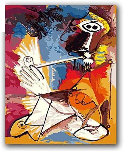 GWYKQ Bricolaje pintura al óleo por números Pinturas de Picasso cuadros de música abstracta pinturas con paquetes de paquetes para decoración Painting By Numbers,Sin Marco 40X50Cm