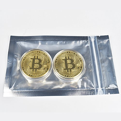 M1N1NG19 2PCs Gold Plated Bitcoins | HODL Cryptocurrency | Limited Edition BTC Crypto Coins Mining | Unique Gifts for Adults/Funny Gift