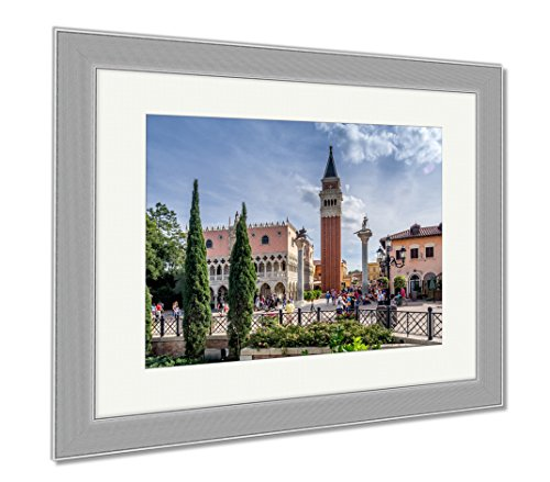 Ashley Framed Prints Italy Pavilion Epcot Center, Wall Art Home Decoration, Color, 26x30 (frame size), Silver Frame, - Center Orlando Town