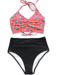 Women's Attract Your Attention High Waisted Lace up Halter Bikini Set