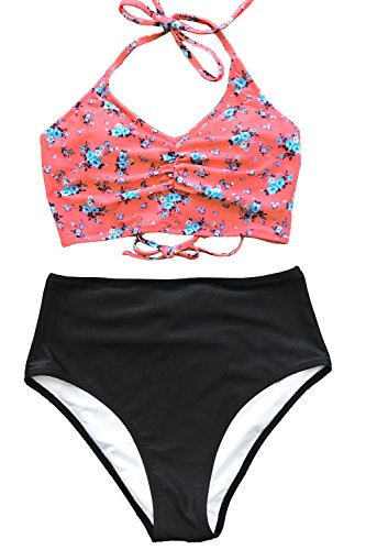 (CUPSHE Women's Attract Your Attention High Waisted Lace Up Halter Bikini Set, Red,)