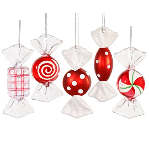 (Vickerman Red-White Candy Ornament, 3.5-Inch (5 per Box))