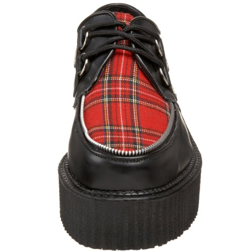 Demonia creeper-406 - gothic punk industrial punk industrial creeper shoes 3,5-12 Blk Le-red Plaid
