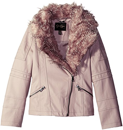 Taupe Kid Leather (Jessica Simpson Big Girls' Faux Leather Jacket With Eyelash Faux Fur Collar, Taupe, 14/16)