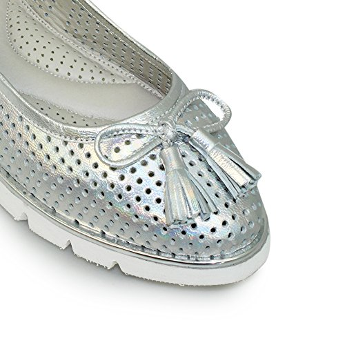 Lunar Womens Elisa Perforated Pump in White Or Silver Sizes 3,4,5,6,7,8,36,37,38,39,40,41 Silver