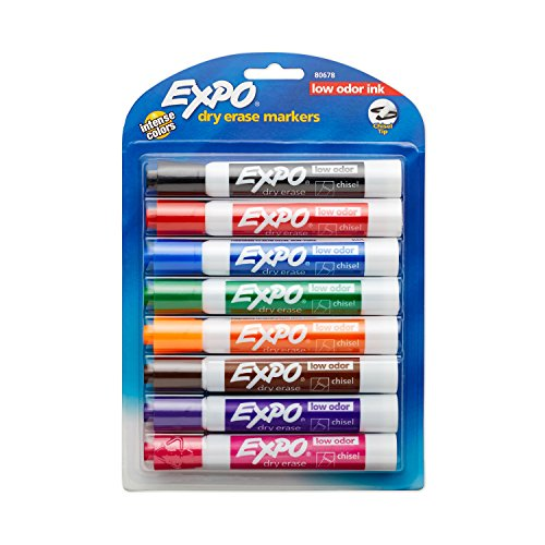 EXPO 80678  Low-Odor Dry Erase Markers, Chisel Tip, Assorted Colors, 8-Count ()