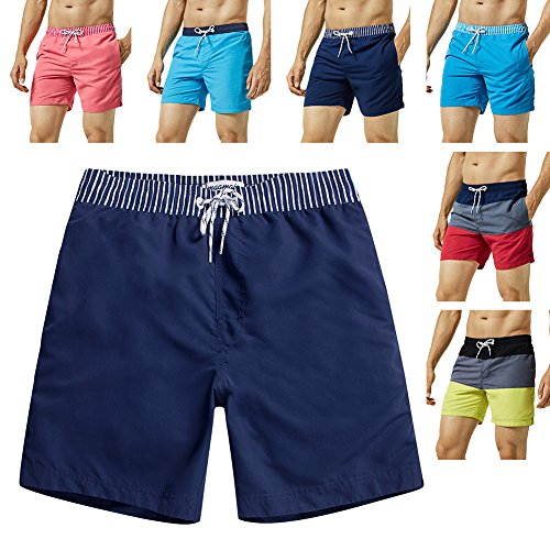 (MaaMgic Mens Quick Dry Solid Swim Trunks with Mesh Lining Swimwear Bathing Suits,Navy-glm005,Medium )