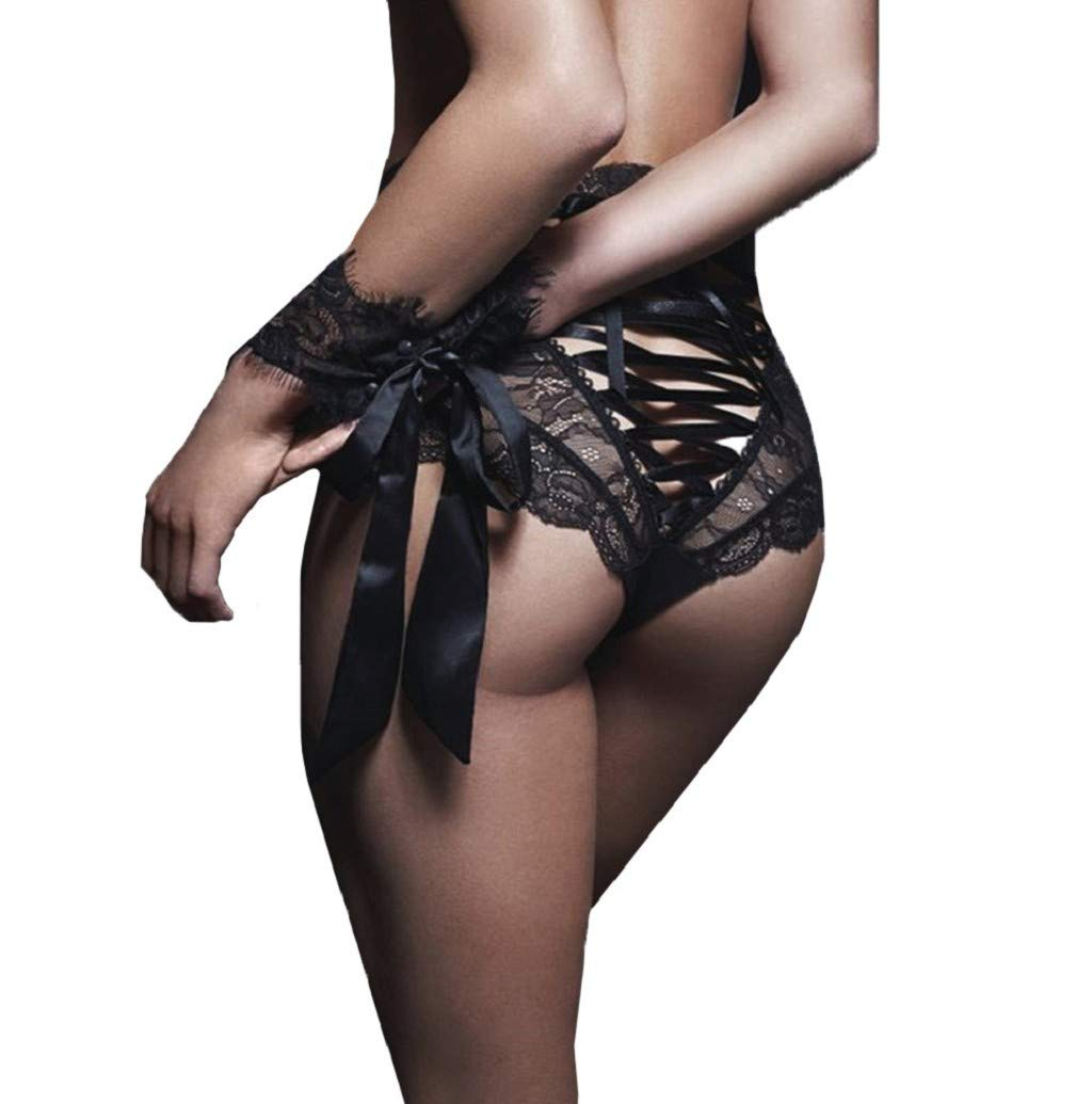 Bandage Panty,Women Underpants See-Through Lace Flower Bare Thong Hollowed-Out Lingerie Underwear JHKUNO Black