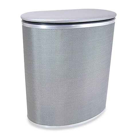 Pewter Laundry Hamper with Durable, Metallic-looking and Custom Woven Textilene Fabric, Perfect for Your Laundry Storage Needs