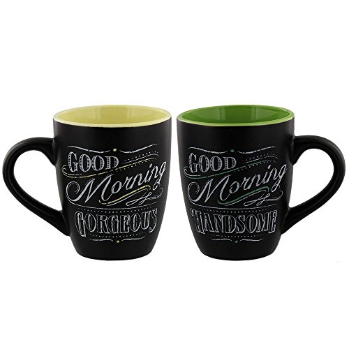 Giftcraft Chalk Talk Mugs, Good Morning, 2/asst.