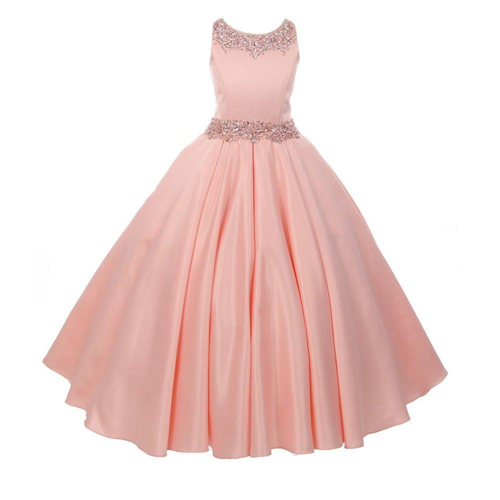 Cinderella Couture Big Girls Blush Shimmery Beaded Pleated Dull Satin Junior Bridesmaid Dress 8