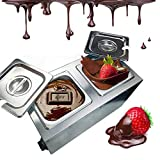 Li Bai Commercial Chocolate Melting Machine Electric Fountain Pot Liquid Warmer 300W 4L Capacity 2 Tanks for Chocolate Candy Butter Cheese Caramel Soup and More