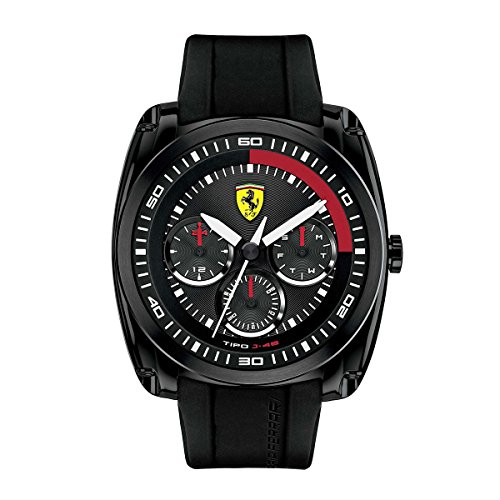 Ferrari 0830320 Men's Tipo J-46 Sports Black Dial Black IP Steel Black Silicone Strap Watch
