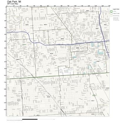 Oak Park Zip Code Map.Amazon Com Zip Code Wall Map Of Oak Park Mi Zip Code Map Laminated