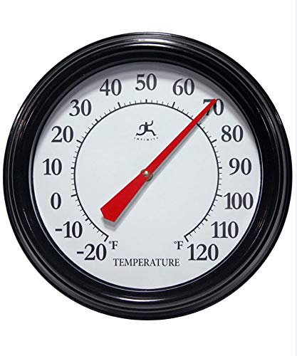 Infinity Instruments Executive Indoor/Outdoor Thermometer Black/White/Red Hand