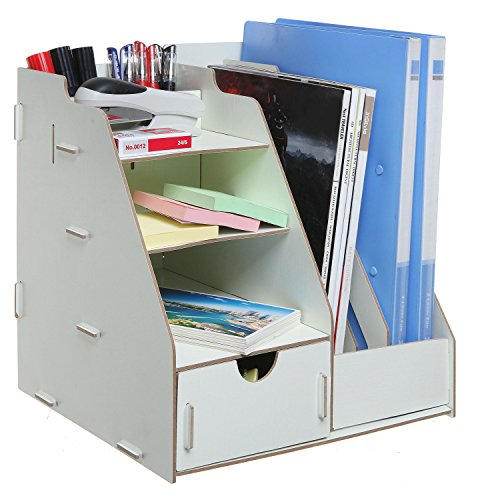 All-in-One Beige Wood Desktop Organizer Rack w/ 2 Magazine Holder, Drawer, Shelf Cubbies & Office Supply Holder