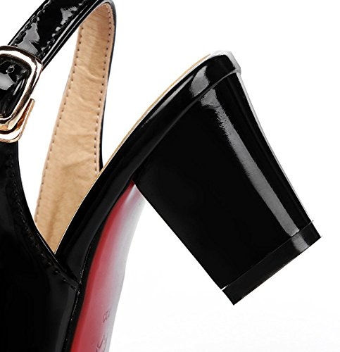 Cinturino A Fibbia Slingback Da Donna Easyemax Con Tacco Medio E Sandali Bassi A Punta Aperta Neri