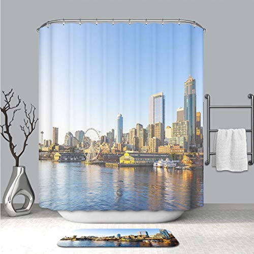BEICICI 3D Print Multi Style Shower Curtain and Bath mat Seattle Downtown Waterfront with Space Needle and Great Wheel Fabric Bathroom Curtains with Non-Slip Floor Doormat Rugs