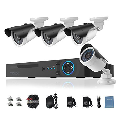 Video Surveillance System 750G Digital Video Recorder with 4 Weatherproof CCTV Cameras Day and Night Security Camera System Motion Alert Security DVR (220 Digital Camera)