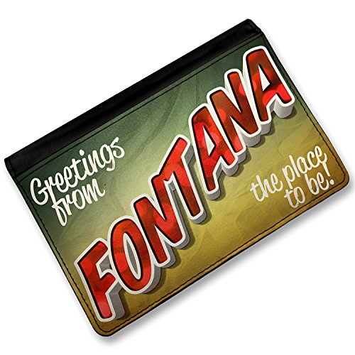 [RFID Passport Holder Greetings from Fontana, Vintage Postcard, Cover Case / Wal] (Fontana Cover)