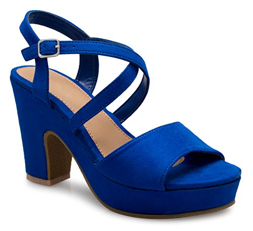 (OLIVIA K Women's Adorable Cute Strappy Mid Block Heel Sandals-Sexy, Comfort, Casual, Royal Blue Suede, 6 B(M) US)