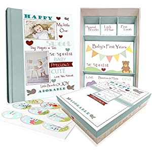 Baby Memory Book w/Keepsake Box & 30 Monthly & Baby...