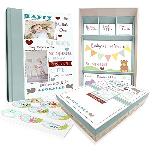Baby Memory Book w/Keepsake Box & 30 Monthly & Baby First Milestone Stickers - Gender Neutral Scrapbook Album for Boys & Girls