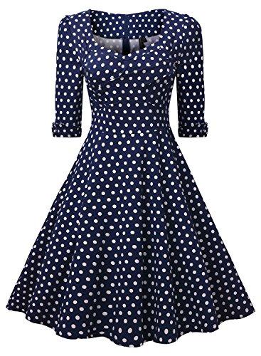Miusol Elegant 50er Jahre Retro Polka Dots?Rockabilly Cocktailkleid Party Stretch Kleid Blau Gr.L