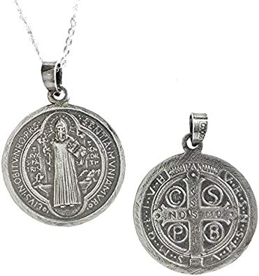 Alylosilver Collar Colgante Medalla de San Benito de Plata para Hombre Mujer - Incluye Cadena de Plata de 45 cm y Estuche para Regalo: Amazon.es: Joyería