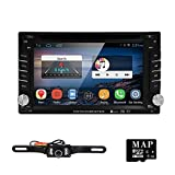 HIZPO in Dash 2 Din Car Radio Android 4.4.4 Video Receiver DVD Player GPS Navigation Stereo AM FM SD/USB/Bluetooth/DVR/OBD2/Wifi/1080P USA Map Card+Camera