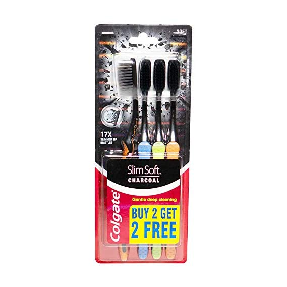 Colgate Slim Soft Charcoal Toothbrush - 4 Pcs (Buy 2 Get 2 Free)
