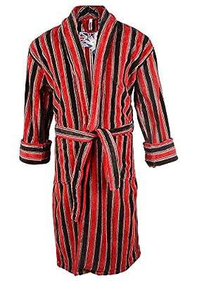 Mens Ely 100% Egyptian Cotton Plush Shawl Collar Luxury Bathrobe Red