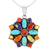 """Turquoise Necklace Sterling Silver 925 Genuine Turquoise & Gemstones Pendant (20"""" Length)"""